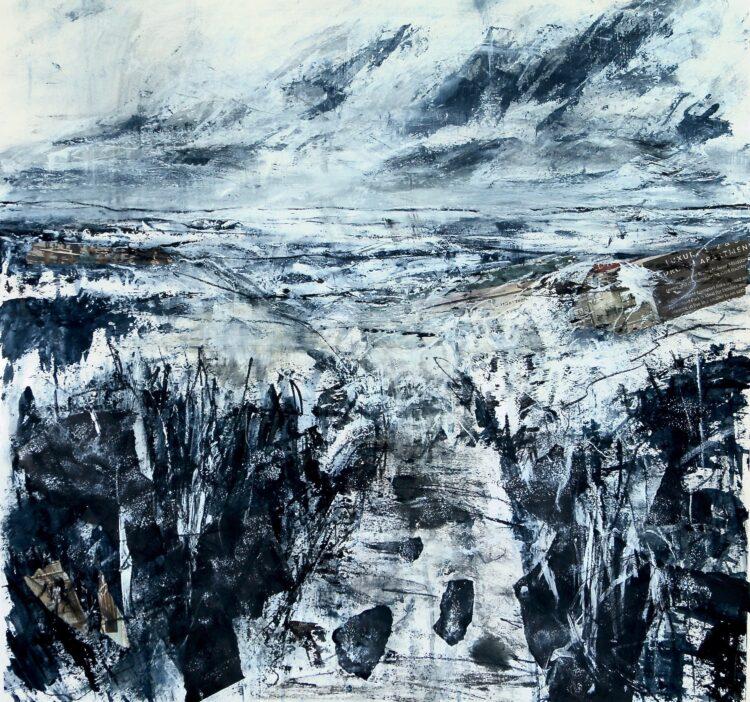Blue Landscape by Karin Friedli, Mixed media on paper