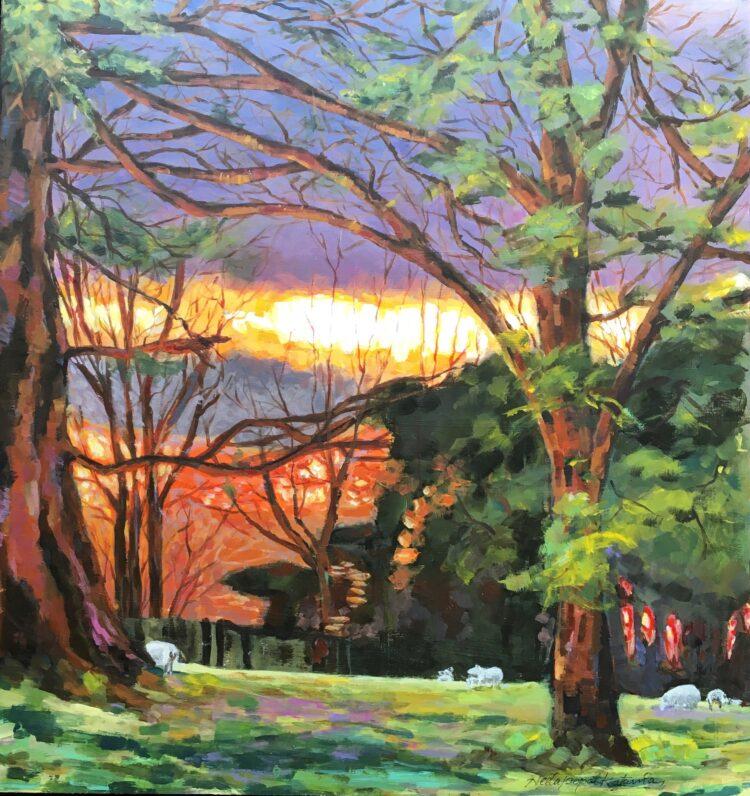 Hampshire Sunset by Neeta Popat Kataria, Acrylic on Gesso Panel