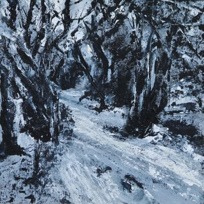 Snowy Path by Karin Friedli, Acrylic on canvas board