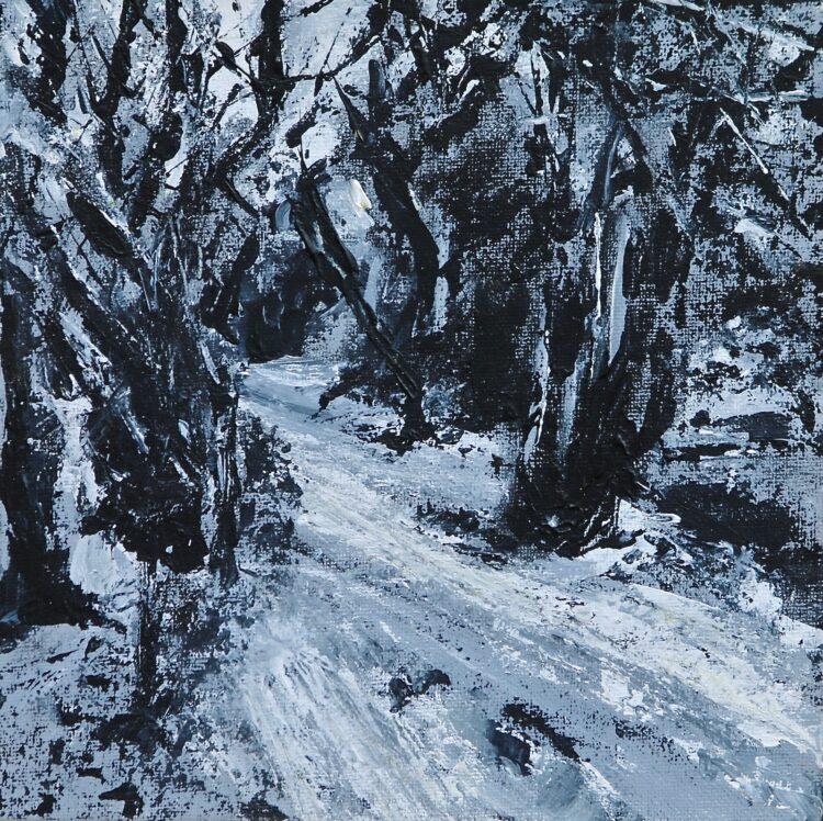Snowy Path by Karin Friedli, Acrylic on canvas board