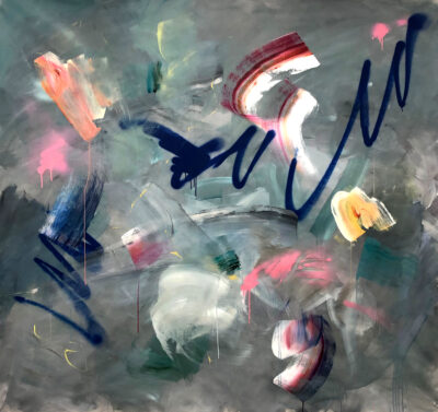 Sometimes You Just Gotta Go For It by Joanna Gilbert, Spray paint and acrylic on canvas