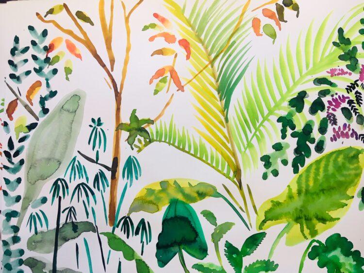 Ferns and Trees by Alice Gavin Atashkar, Watercolour on paper
