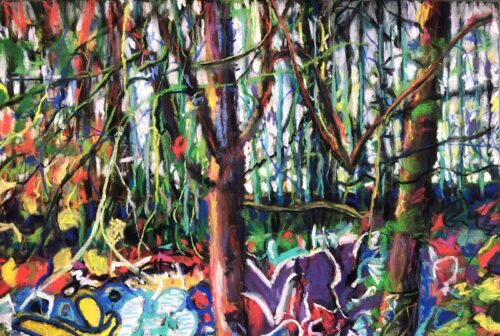 Dawn Limbert 'Graffiti Wall' Pastel on paper