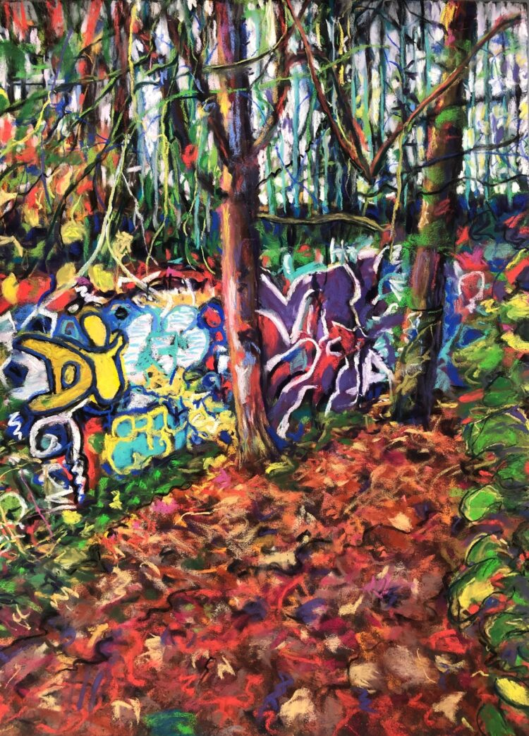 Graffiti Wall by Dawn Limbert, Pastel on paper