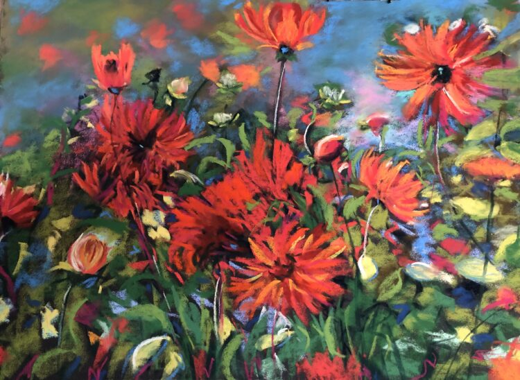 Red Explosion by Dawn Limbert, Pastel on paper