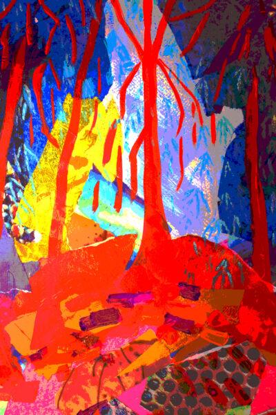 Redwood Print by Alice Gavin Atashkar, Mixed media