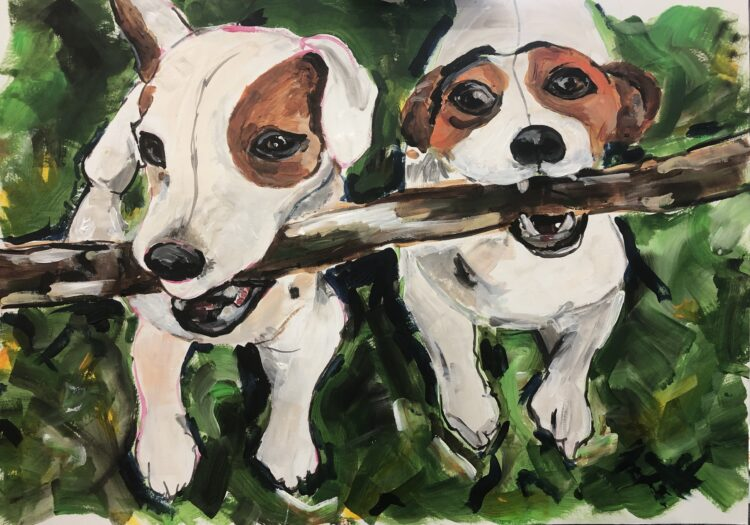 Stick Buddies by Michelle Karpus, Acrylic on paper