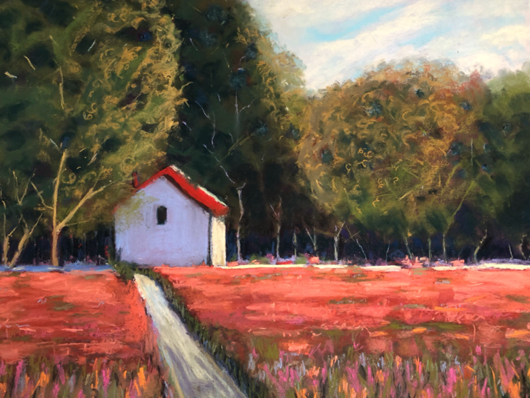 House with the Red Roof by Dawn Limbert, Pastel on paper