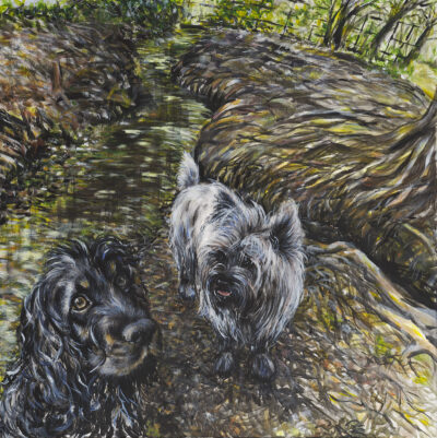 Henry and Lucy at the Weir by Gianna Lapini, Acrylic on baord