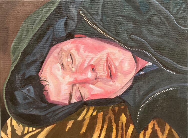 Lockdown Sleeping Head by Sara Gregory, Oil on Canvas